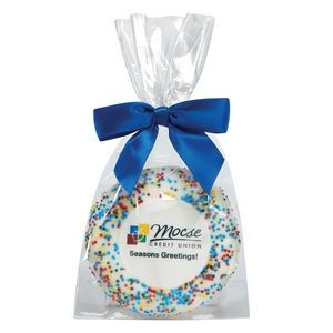 Custom Sugar Cookie w/ Corporate Color Sprinkles in Gift Bag